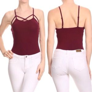 Tops - Burgundy Caged Bodysuit